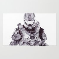 master chief Area & Throw Rugs featuring Master Chief by DeMoose_Art