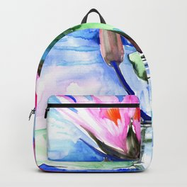 Pink Water lilies , lotus, lily pad, Bright Pink Blue Floral Backpack