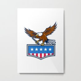 American Eagle Towing J Hook USA Flag Retro Metal Print