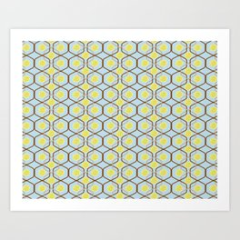 abstract geometry retro style floral pattern with yellow flowers on a light blue background Art Print