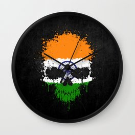 Flag of India on a Chaotic Splatter Skull Wall Clock