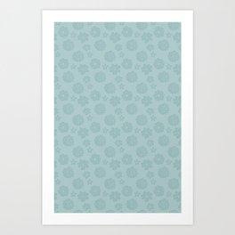 Succulent Blue Rosettes - Organic Pattern - Floral Line Drawing Art Print