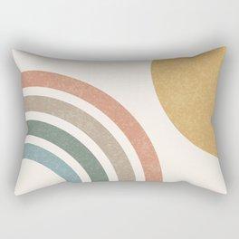 Mid Century Colorful Sun & Rainbow Rectangular Pillow