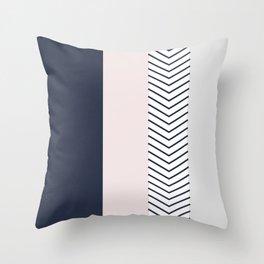 Navy Blush and Grey Arrow Throw Pillow