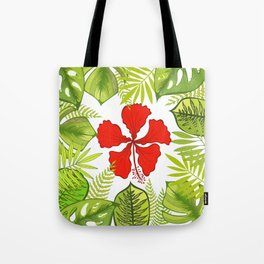 Tropical Paradise. Exotic leaves and flowers. Tote Bag