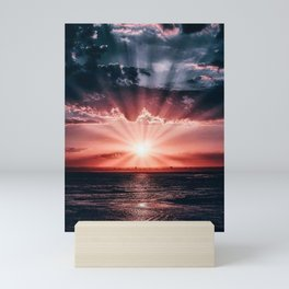 Red sunset on sand Mini Art Print