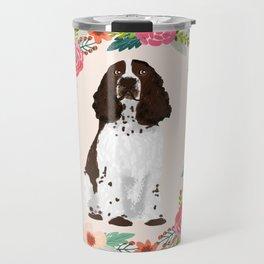 english springer spaniel dog floral wreath dog gifts pet portraits Travel Mug