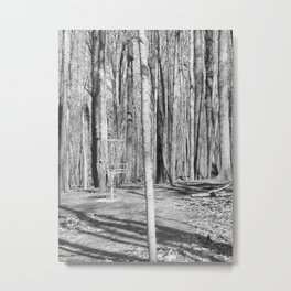 Black And White Disc Golf Basket Metal Print