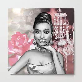 Retro Pinup Girl Chandelier & Flowers Shades of Pink Metal Print