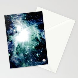 Orion Nebula Midnight Blue Mint Green Stationery Cards