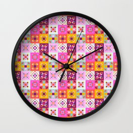 Maroccan tiles pattern with pink Wall Clock