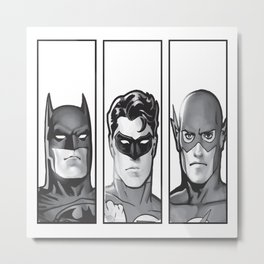 Superheros In Grey Metal Print