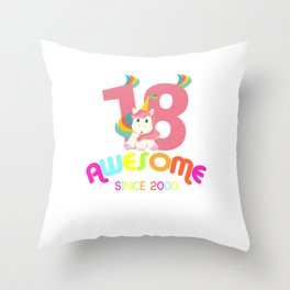 Awesome Since 2000 Unicorn 18th Birthday Anniversaries Throw Pillow