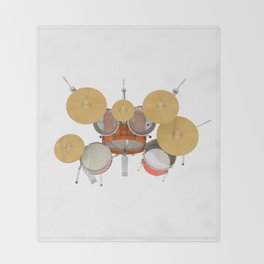 Orange Drum Kit Throw Blanket