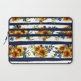 Watercolor navy blue orange yellow sunflower stripes Laptop Sleeve