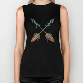 Arrows Turquoise Coral on Navy Biker Tank