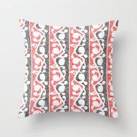 maori Throw Pillows featuring Maori Kowhaiwhai Distressed Pattern by mailboxdisco