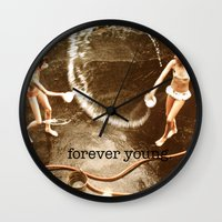 forever young Wall Clocks featuring forever young. by Sammi  Shea