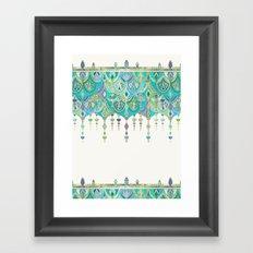 Art Deco Double Drop in Jade and Aquamarine on Cream Framed Art Print