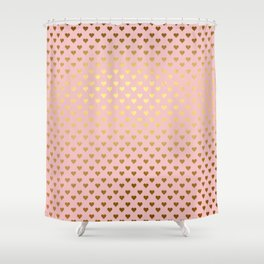 Gold and pink sparkling and shiny Hearts pattern Shower Curtain