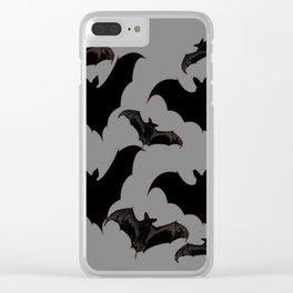 HALLOWEEN BATS ON CHARCOAL GREY WILDLIFE ART Clear iPhone Case