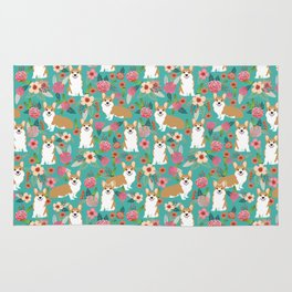 Corgi Florals - vintage corgi and florals gift gifts for dog lovers, corgi clothing,turquoise Rug