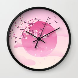 Japanese Cherry Blossom Pink Wall Clock