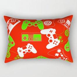 Video Gamesgreen on red Rectangular Pillow
