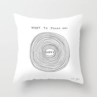 marc Throw Pillows featuring What to focus on by Marc Johns