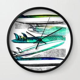 Surfboard Surf Sketch Stripe Wall Clock