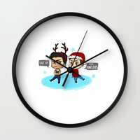 sterek Wall Clocks featuring Festive Sterek by The Paper Monster