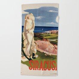 Siracusa Syracuse Italy Vintage Italian Travel Beach Towel
