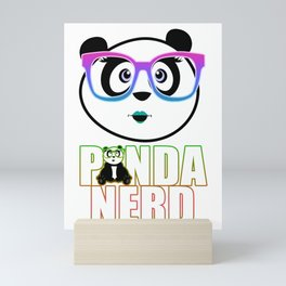 Panda Nerd Girl - Rainbow Mini Art Print
