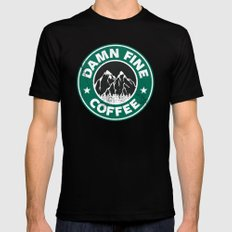 Damn Fine Coffee Black LARGE Mens Fitted Tee