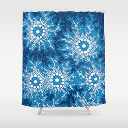 Authentic Aboriginal Art - Waterhole Dreaming Shower Curtain