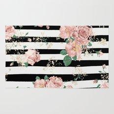 VINTAGE FLORAL ROSES BLACK AND WHITE STRIPES Rug