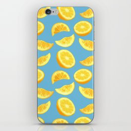 Lemon Slices and Wedges on blue iPhone Skin