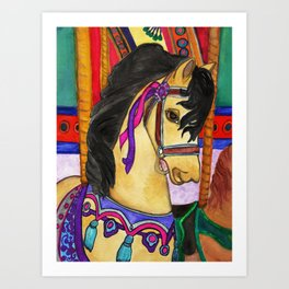 Vintage Carousel Horse Art Print