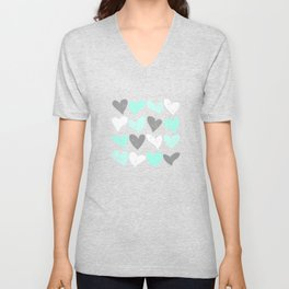 Mint white grey grunge hearts Unisex V-Neck