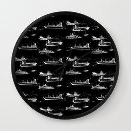 Mediterranean Ships - White on Black Wall Clock