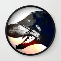 caleb troy Wall Clocks featuring Troy by Jake Stanton