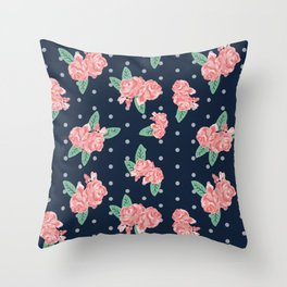 Brooklin - Navy dots floral bouquet minimal boho abstract flowers Throw Pillow