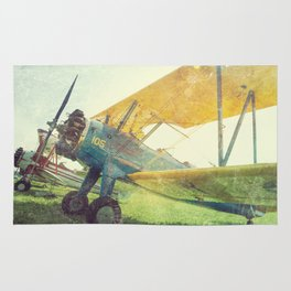 Preflight Biplane // Antique Airplanes Rug
