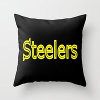 steelers Throw Pillows featuring Steelers - #1 by Judy Palkimas