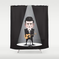 johnny cash Shower Curtains featuring Johnny Cash, The man in black by Mr Doodle Illustrations