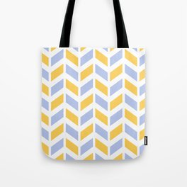 Yellow, grayish blue and white chevron pattern Tote Bag