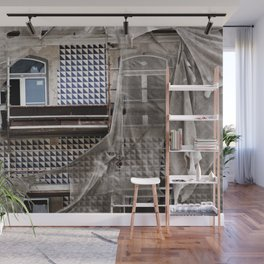Antique Building's Facade with Scaffolding Wall Mural