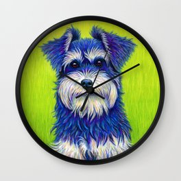 Colorful Miniature Schnauzer Dog Pet Portrait Wall Clock