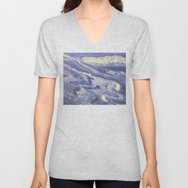 Lavender Marble With Cream Swirls Unisex V-Neck