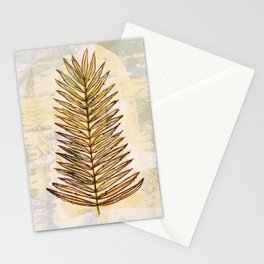 Palm Frond Leaf Abstract Geometric Polygon Watercolor Painting of Tropical Leave Stationery Cards